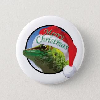 Badge Gecko de Noël - norme, bouton rond de pouce de 2 ¼