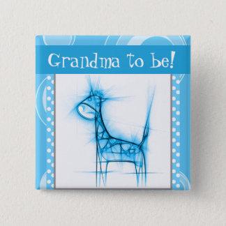 Badge Girafe bleue et blanche de point de polka