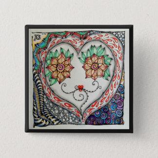 Badge Goupille de coeur (carré de 2 pouces)