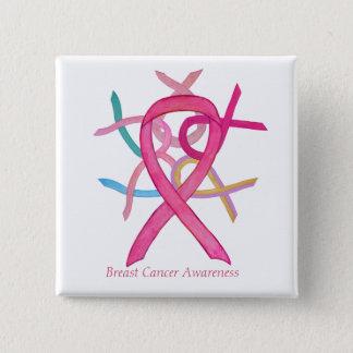 Badge Goupilles roses de bouton de ruban de conscience
