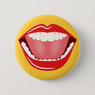 Badge Grand humour de bouche riant les boutons ronds