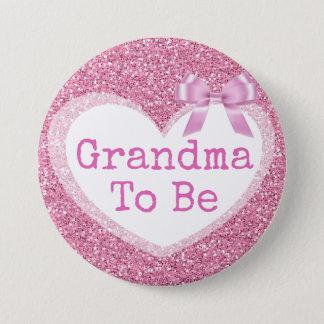 Badge Grand-maman à être bouton rose de baby shower