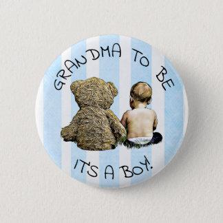 Badge Grand-maman à être, son un garçon, bouton de baby