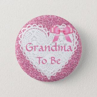 Badge Grand-maman rose d'arc à être bouton de baby