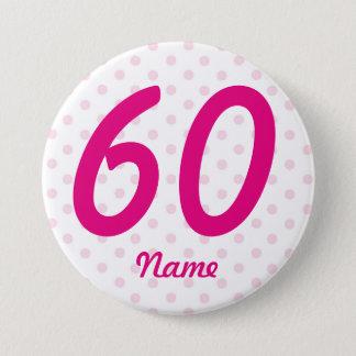 Badge Grand soixantième âge blanc rose 60 d'insigne de