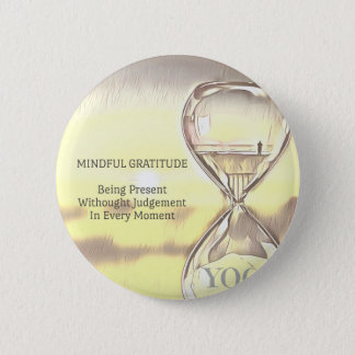 Badge Gratitude apaisante jaune en pastel de sablier de
