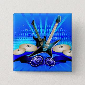 Badge Guitares électriques, tambours et haut-parleurs