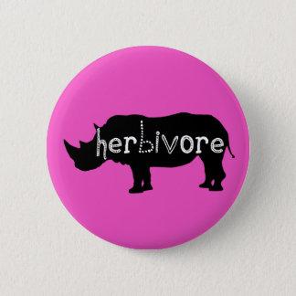 Badge Herbivore - rhinocéros - rose
