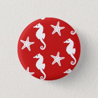 Badge Hippocampe et étoiles de mer - rouge de corail et