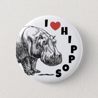 Badge Hippopotames du coeur I - goupille d'amants et de