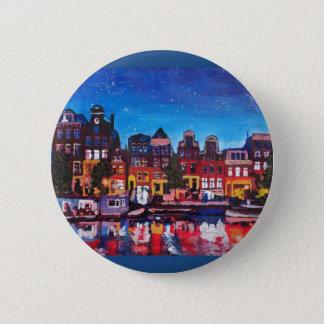 Badge Horizon d'Amsterdam avec le canal la nuit