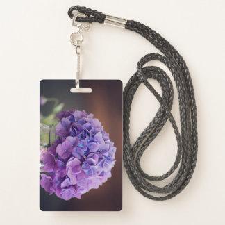 Badge Hortensia pourpre en photographie de pot de maçon