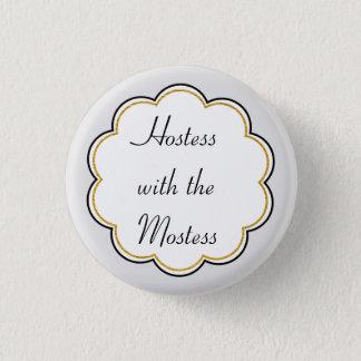 Badge Hôtesse avec la partie de frontière d'or de