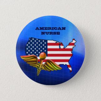 Badge Infirmière américaine. Boutons patriotiques de