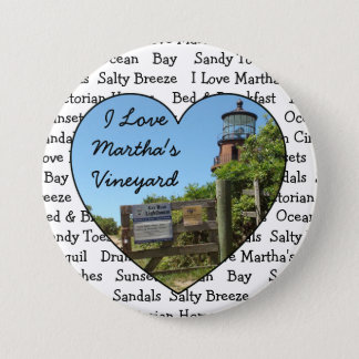 Badge J'aime le bouton de coeur de Martha's Vineyard
