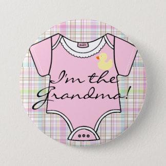Badge Je suis la grand-maman sur le plaid rose avec le