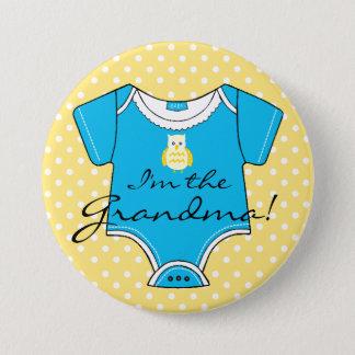 Badge Je suis le baby shower jaune et bleu de