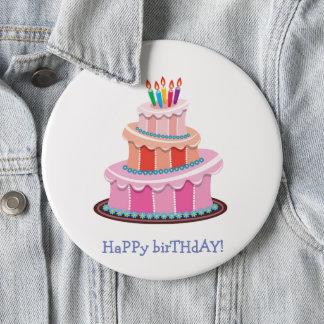 Badge Joyeux anniversaire avec le gâteau et les bougies