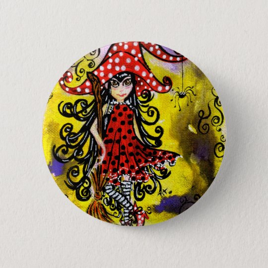 Badge Kitsy la sorcière (couleur)