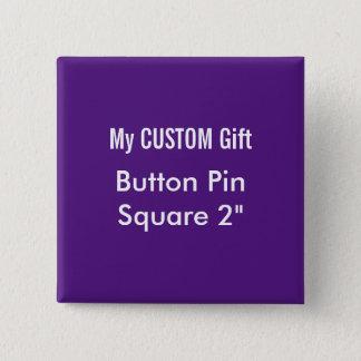 """Badge La coutume a imprimé 2"""" POURPRE carré de Pin"""
