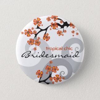 Badge La fleur tropicale de DEMOISELLE D'HONNEUR