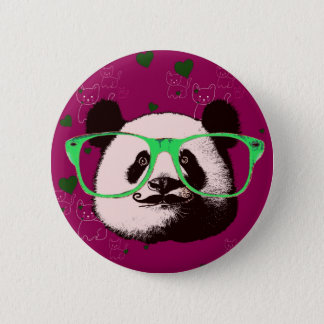 Badge La moustache à la mode en verre de visages d'ours