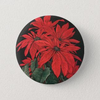 Badge La poinsettia rouge de Noël vintage plante des