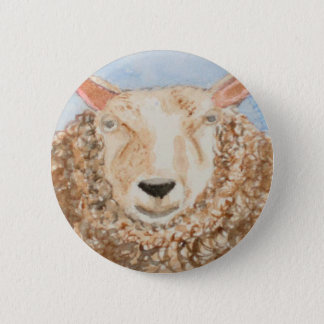 Badge L'art animal d'aceo d'aquarelle de moutons drôles