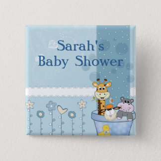 Badge Le bleu layette pointille le baby shower de fleurs