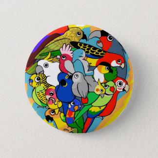 Badge Le coeur I parrots la bande dessinée mignonne