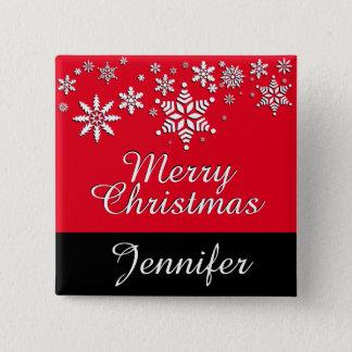 Badge Le Joyeux Noël personnalisent des vacances - rouge
