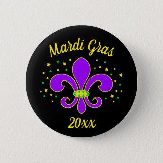 Badge Le mardi gras Fleur-De-lis ajoute l'année