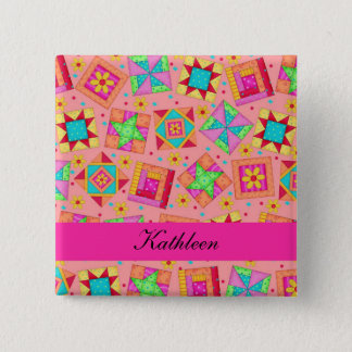 Badge L'édredon de patchwork fuchsia orange bloque le