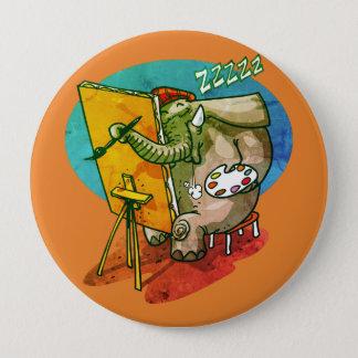 Badge l'éléphant le peintre est bande dessinée drôle de
