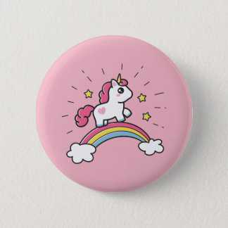 Badge Licorne mignonne sur une conception d'arc-en-ciel