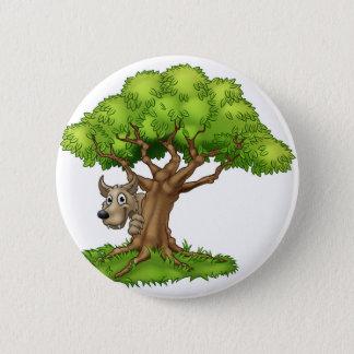 Badge Loup et arbre de conte de fées de bande dessinée