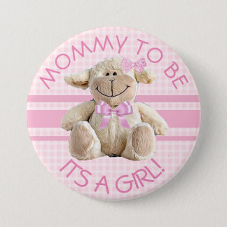 Badge Maman à être bouton de baby shower d'agneau