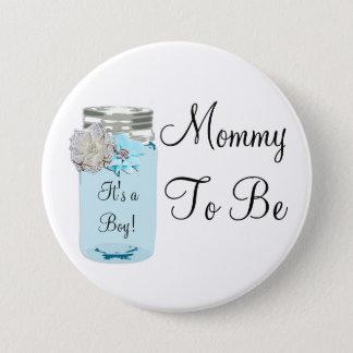 Badge Maman à être bouton minable rustique bleu de pot