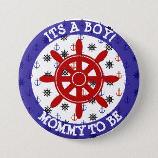 Badge Maman à être, bouton nautique de baby shower