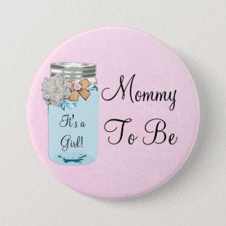 Badge Maman à être bouton rustique bleu de pot de maçon
