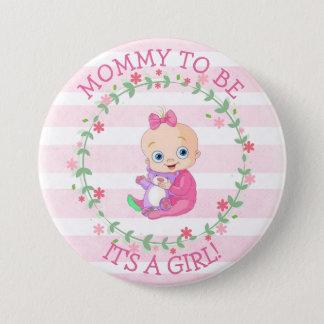 Badge Maman à être, son un bouton de bébé de rose de