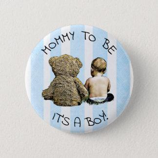 Badge Maman à être, son un garçon, bouton de baby shower