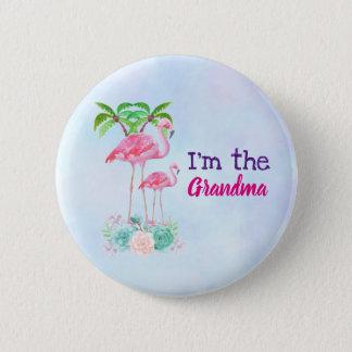 Badge Mamans et bébé roses de flamant avec des palmiers