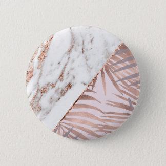 Badge Marbre rose d'or et fougères tropicales
