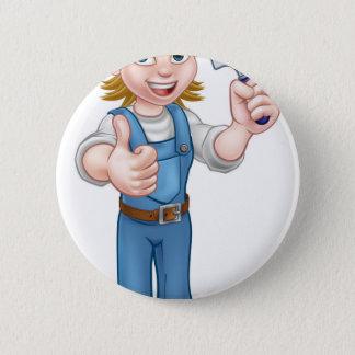 Badge Mascotte de jardinière de femme de bande dessinée