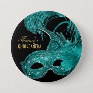 Badge Masque de turquoise d'anniversaire de quinceañera