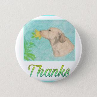 Badge Merci de chien et de fleur