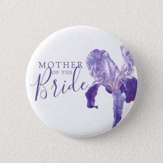 Badge Mère du mariage pourpre d'iris de jeune mariée
