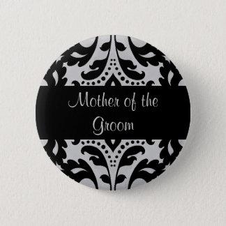 Badge Mère noire et grise de damassé de victorian de