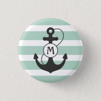 Badge Monogramme nautique d'ancre avec les rayures vert